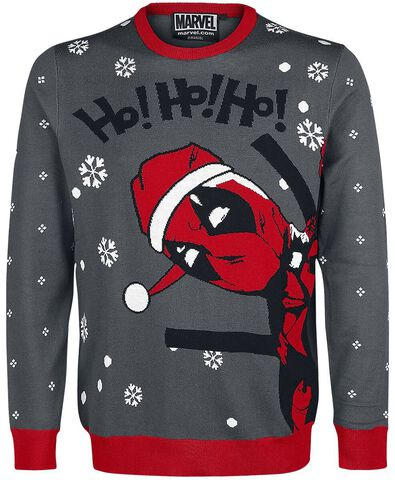 Sweat De Noël - Deadpool - Ho Ho Ho Gris Et Rouge - Taille M