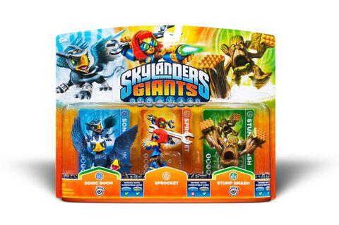 Pack Figurines Skylanders : Giants Sprocket + Sonic Boom + Stump Smash