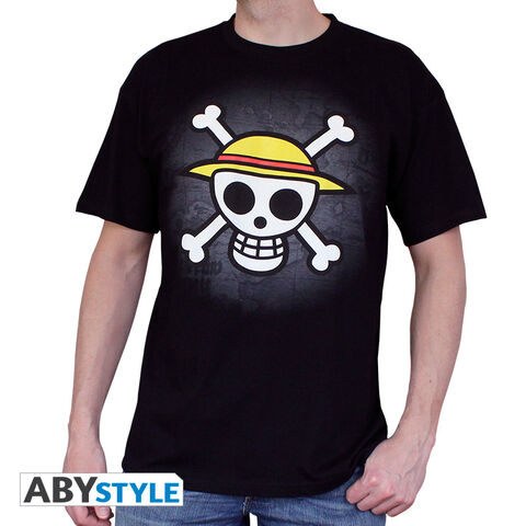 "T-shirt Homme - One Piece - ""skull With Map"" - Noir - Taille Xl"