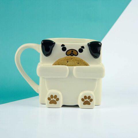 Mug - Chien Carlin 3D avec coin cookie