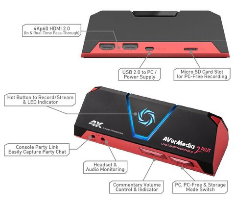Boîtier de capture - AverMedia - Live Gamer Portable 2 Plus