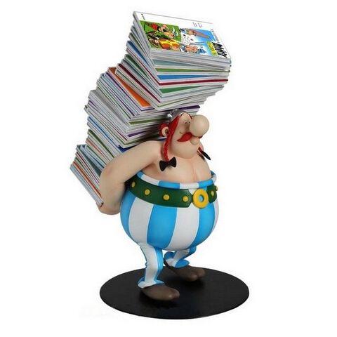 Statuette - Asterix - Obelix avec pile d'albums