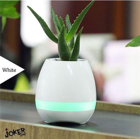 Enceinte Bluetooth - Pot de fleur blanc musical et lumineux