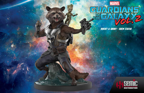 Statuette Zing by Semic - Les Gardiens de la Galaxie 2 - Rocket & Groot 30 cm
