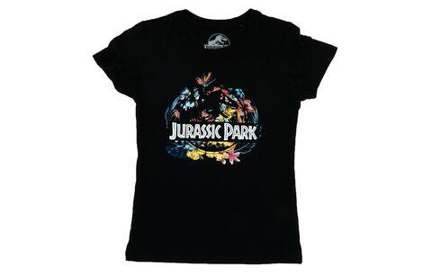 T-shirt Femme - Jurassic Park - Tropical Flower Noir - Taille L