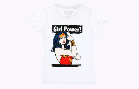 T-shirt Femme - Wonder Woman - Girl Power Blanc - Taille L