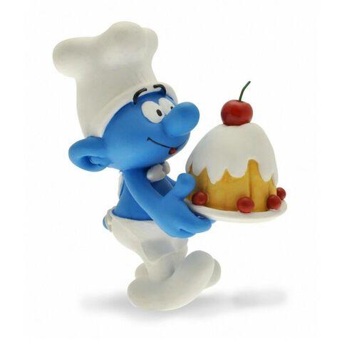 Figurine - Le Schtroumpf - Pâtissier tenant un gâteau
