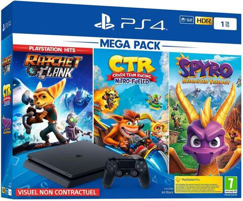 Pack Ps4 Slim 1to Noire +crash Team Racing+ Spyro +ratchet & Clank