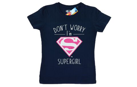 T-shirt Femme - Don't Worry I'm Supergirl Navy - Taille XL