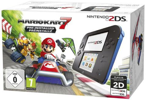 Nintendo 2DS noir / bleu + Mario Kart 7 Préinstallé