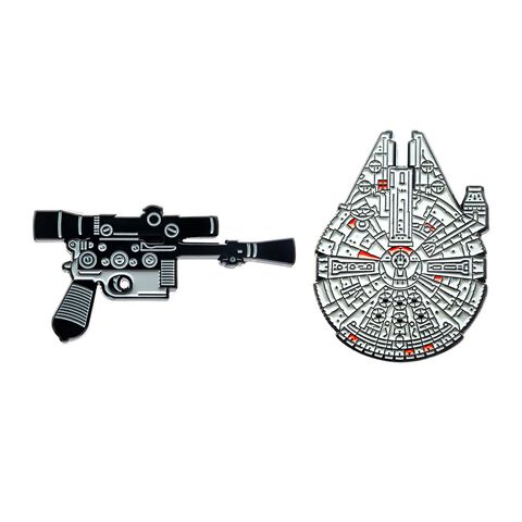 Badge - Star Wars - Blaster Han Solo et Faucon Millenium