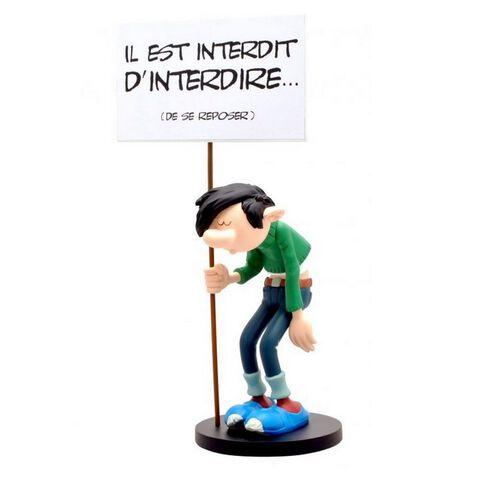 Figurine de collection - Gaston et sa pancarte - Il est interdit d'Interdire