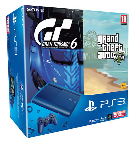 Pack PS3 500 Go Bleue + Gran Turismo 6 + Grand Theft Auto V