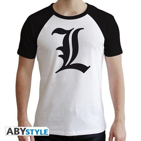 T-shirt - Death Note - L Symbole Blanc - Taille M