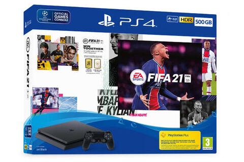 Pack Ps4 Slim 500 Go Noire + FIFA 21 + Voucher FUT + PlayStation Plus 14 jours
