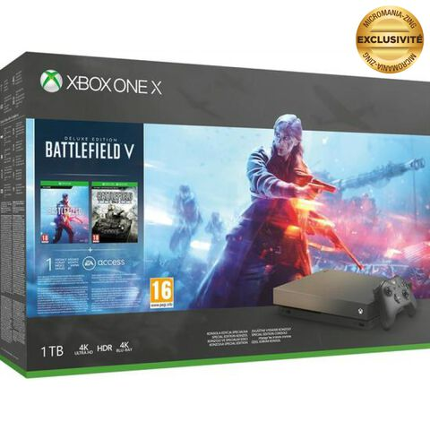 Pack Xbox One X 1to Noire +battlefield V Gold Rush (exclusivité Micromania)