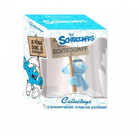 Figurine - Schtroumpf avec pancarte : Je pense donc je Schtroumpf
