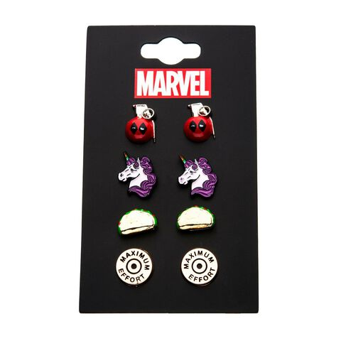 Boucles d'oreilles - Marvel - Deadpool pack de 4 paires