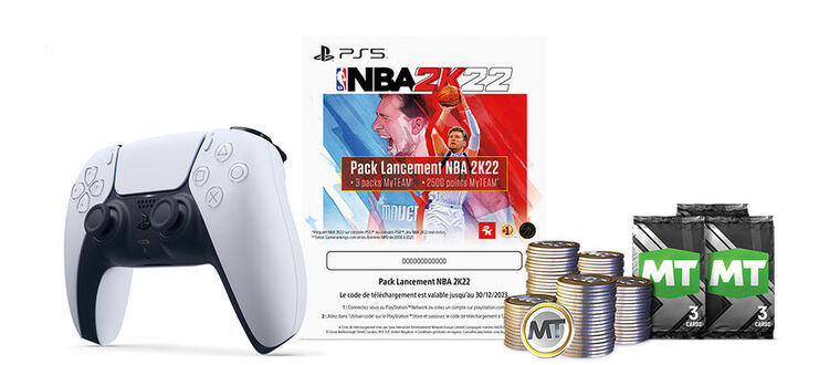 Manette Sans Fil Dualsense White + Vc Point NBA 2k22
