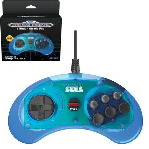 Manette Retro Sega Megadrive Bleue Pc/ps3/switch/megadrive Mini
