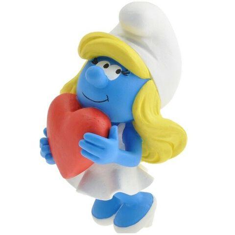 Figurine - La Schtroumpfette - Tenant un coeur