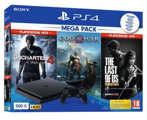 Pack Ps4 Slim 500 Go Noire +tlou+uncharted 4 Hits+ Gow (exclusivité Micromania)