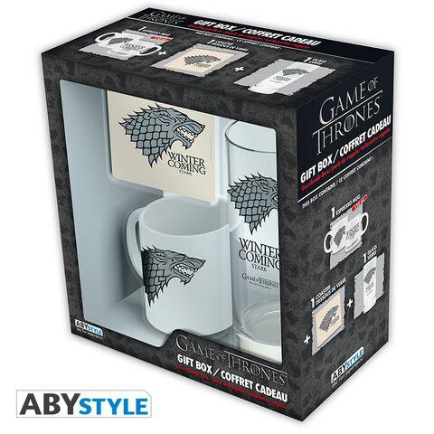 Coffret - Game of Thrones - Verre 29 cl + Dessous de verre + Mini Mug Stark