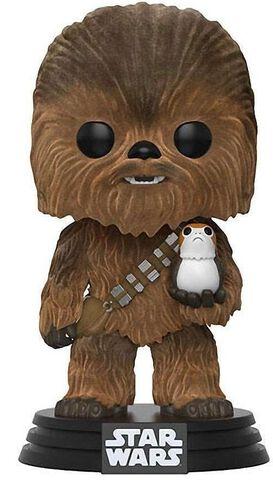 Figurine Funko Pop! N°195 - Star Wars - Chewbacca avec Porg Flocked