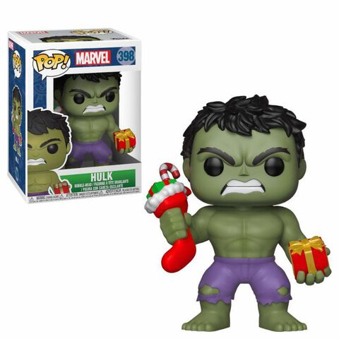 Figurine Funko Pop! N°398 - Marvel - Holiday Hulk avec bas de Noël et peluche