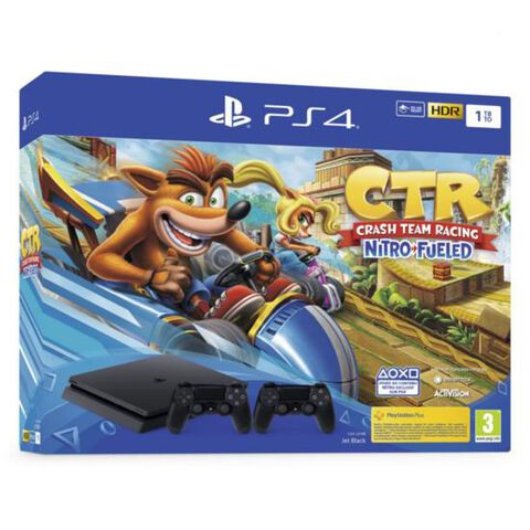 Pack Ps4 Slim 1to Noire +crash Team Racing +2nd Ds4 V2