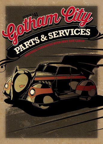 Poster Métallique - DC Comics - Batmobile Vintage Gotham City