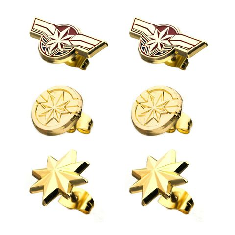 Boucles d'oreilles - Captain Marvel - Pack de 3 paires