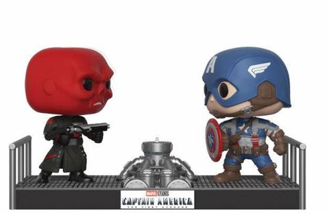 Figurine Funko Pop! Moment N°389 - Marvel - Twin Pack Captain America et Crâne rouge