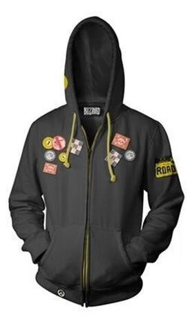 Sweat A Capuche Taille M - Overwatch - Roadhog Gris Anthracite (exclu Micr