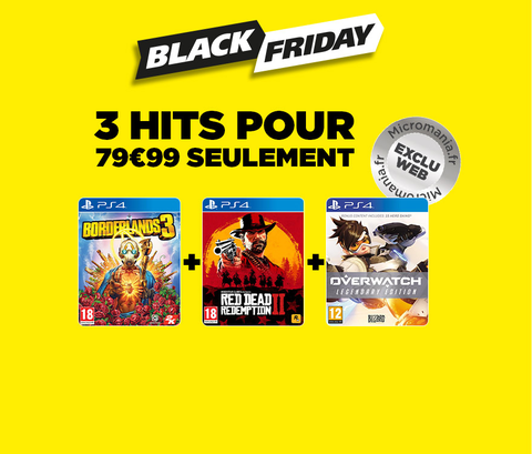 Black Friday : Pack 3 jeux comportant Red Dead Redemption 2, Borderlands 3 & Overwatch pour 79,97 euros !