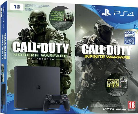 Pack Ps4 Slim 1to Noire + Cod Legacy Infinite Warfare (br) + Mw Remastered (vou