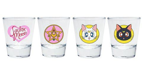 Verre A Shot - Sailor Moon - Set De 4 Emblèmes