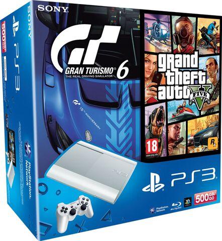Pack PS3 500 Go Blanche + Gran Turismo 6 + Gran Turismo V