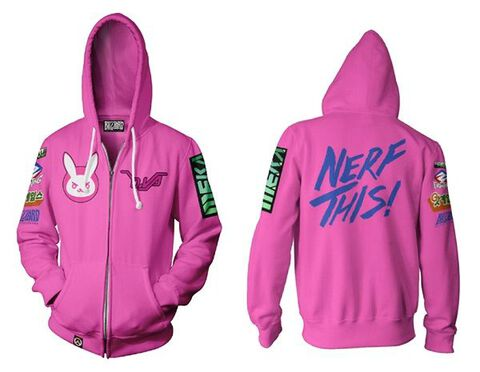 Sweat A Capuche Zippe - Overwatch - D.va Rose Taille S (exclu Micro)