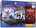 Pack Ps4 Slim 500 Go Noire + Marvel's Spider-Man + Horizon Zero Dawn + Ratchet & Clank Hits