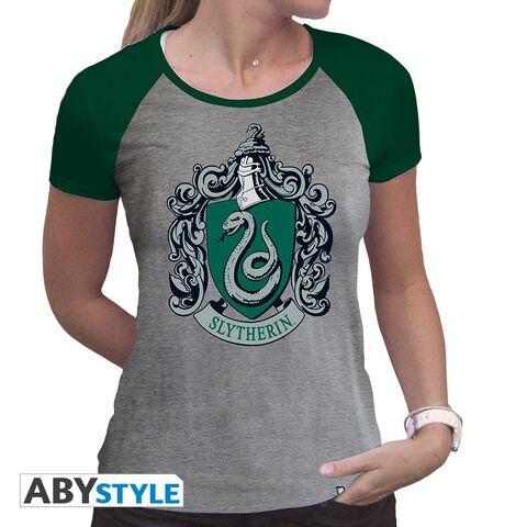 T-shirt - Harry Potter - Serpentard Femme Gris et Vert Oremium - Taille M