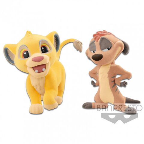 Figurine Disney Character Cutte Fluffy Puffy - Le Roi Lion - Simba Et Timon