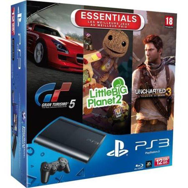 Pack Ps3 12 Go Noire + Gran Turismo 5 + Uncharted 3 + Lbp 2 Essentiels
