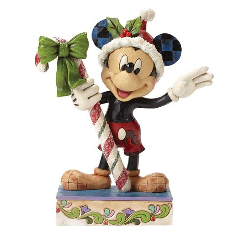 Statuette - Mickey - Disney Traditions - Mickey Mouse avec canne de Noël