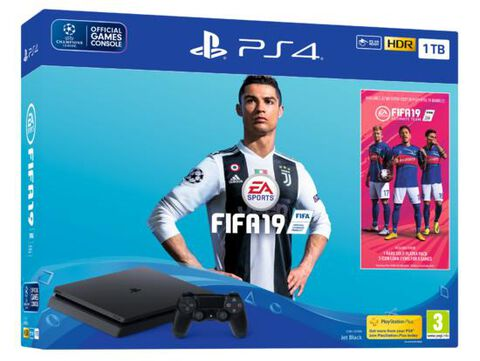 Pack Ps4 Slim 1to Noire + FIFA 19 + PS+ 14 jours