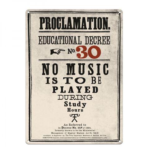 Plaque - Harry Potter - Proclamation N°30