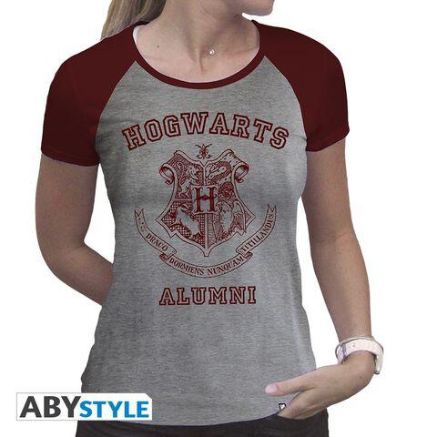 T-shirt - Harry Potter - Alumni Femme Gris et Rouge Premium - Taille S