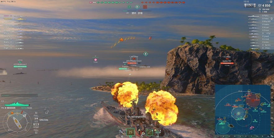 World of Warships tournant sur Blade Shadow