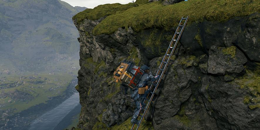 Sam Bridges utilise des échelles dans Death Stranding